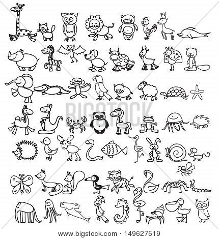 Children's doodle drawings of animals, vector illustration
