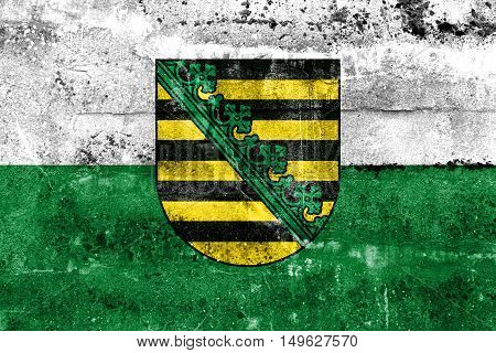 Flag Of Saxony With Coat Of Arms, Germany, Painted On Dirty Wall