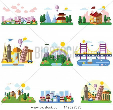 Set of different landscapes in the flat style - urban, rural, country, fabulous, city, mountain, travel and seascape