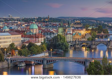 Prague Sunset. Image of Prague, capital city of Czech Republic and Charles Bridge, during sunset.
