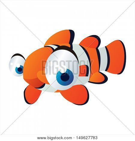 cute vector comic cartoon sea animal. Cool colorful Clown Fish