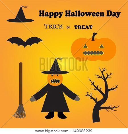 halloween festival icons vector illustration image showing pumpkin witch bat hat broom etc.
