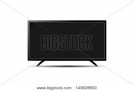 Empty black flat TV wide screen on a white. EPS10 vector image