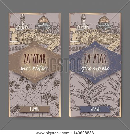 Two Zaatar spice mixture labels with Jerusalem town landscape, cumin and sesame sketch. Culinary herbs collection. Great for cooking, medical, gardening design.