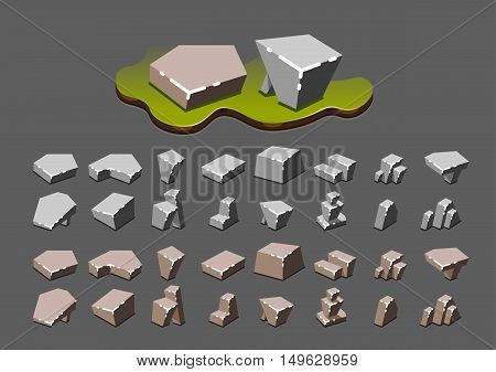 Isometric simple stones for creating video games