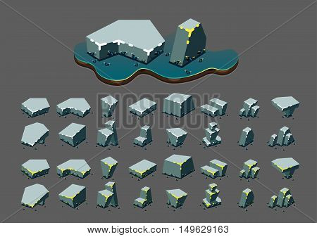 Isometric stones at night for creating video games