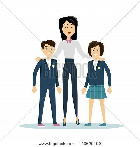 Brunette school teacher in white blouse and blue pants with smiling pupils. Pupils in school uniform stand in front. School isolated character. School smiling personage. Learning process.