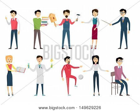 Set of school teacher characters. Smiling teachers in different poses. Teachers of various school subjects. Men and women stand in front. Learning process. Teacher isolated character. School personage