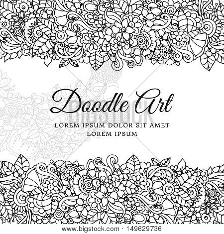 Vector illustration , floral frame. Doodle drawing. Coloring book anti stress for adults. Meditative exercises. Black and white.