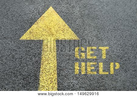 Yellow forward road sign with Get Help word on the asphalt road. Human rights concept.