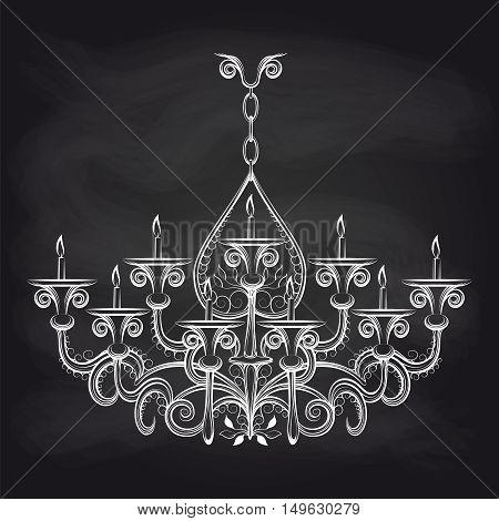 Antique gothic chandeliar sketch on chalkboard vector illustration