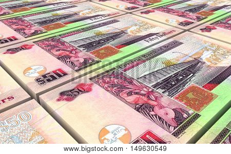 Belizian dollar bills stacks background. 3D illustration.