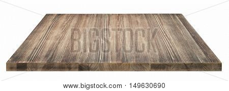 Rustic wooden tabletop on white background.