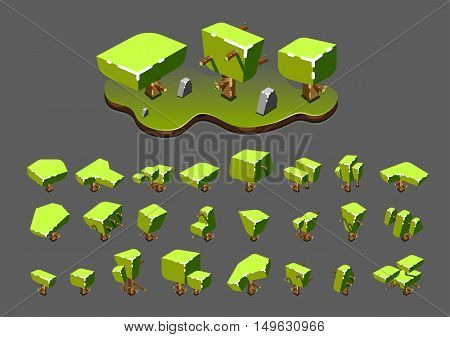 Isometric green trees for creating video games