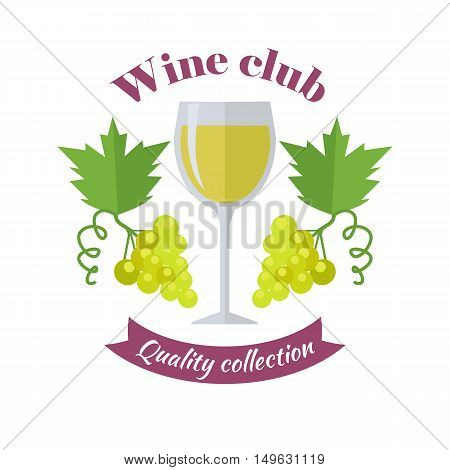 Wine club quality collection. For labels, tags, posters, banners of check elite vintage wines. Logo icon symbol. Winemaking concept. Part of series of viniculture production and preparation. Vector