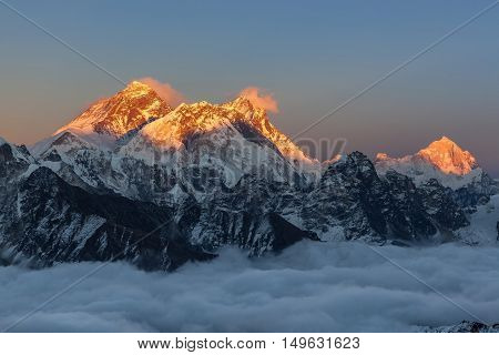 Breathtaking Sunset Over Everest Summit, View From Renjo La Pass. Amazing View Of Mountain Valley Fi