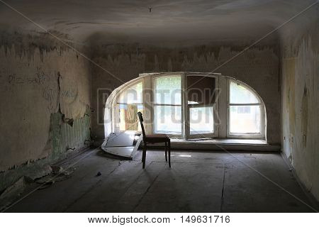 old abandoned building with light from window