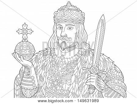 Stylized king (prince or royal lord) in a crown holding scepter and sword isolated on white background. Freehand sketch for adult anti stress coloring book page with doodle and zentangle elements.