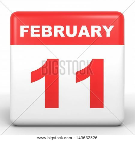 February 11. Calendar On White Background.