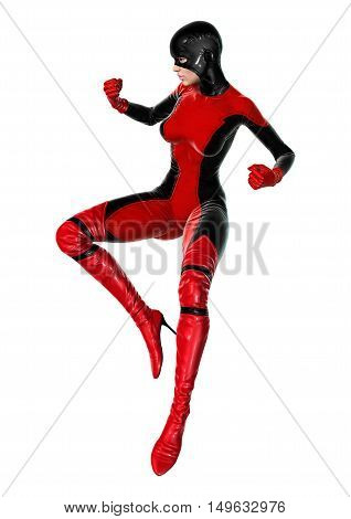 3D rendering of a female superhero isolated on white background