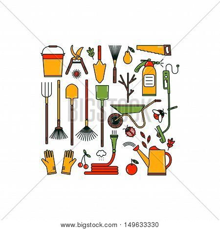 Set of garden tools on white background. Isolated working equipment.  Line style icons. Bright colors.