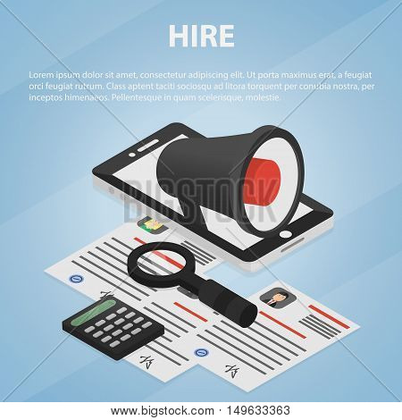 Vector isometric business concept of hire announcement, interview, employment, job offer and recruiting by resume. Illustration of marketing, search of candidates and CV objects, megaphone and laptop.