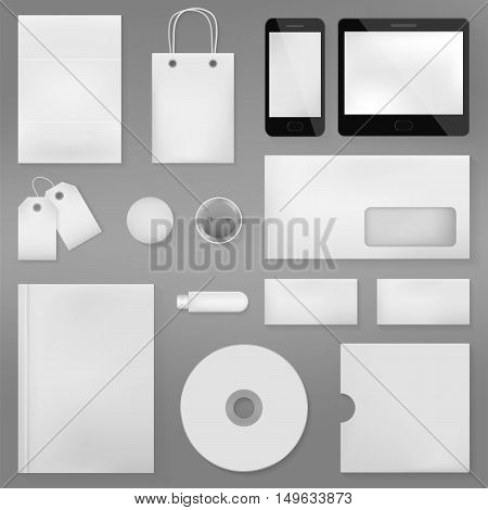 Vector realistic branding stationery mock-up. Business concept of advertising and corporate template.
