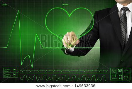 Businessman  Touching ECG Cardiogram high quality and high resolution studio shoot
