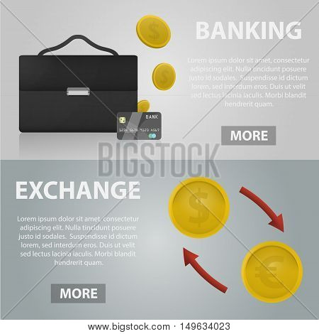 Vector realistic banners of banking and exchange for website. Business concept of economy, marketing and finance. Set of economy elements.