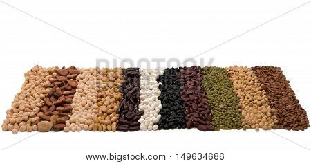 Mixture of dried lentils peas soybeans beans - background