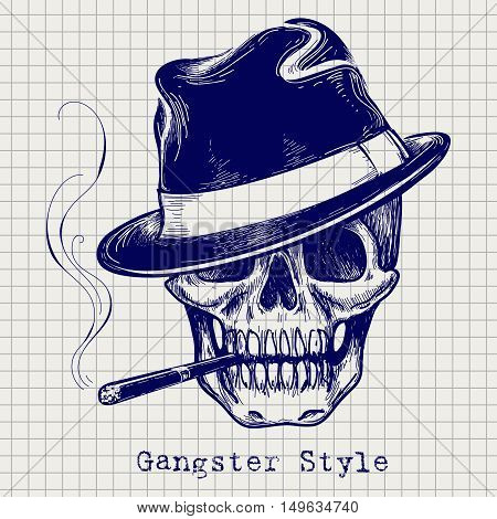 Sketch of gangster skull vector with hat and cigarette