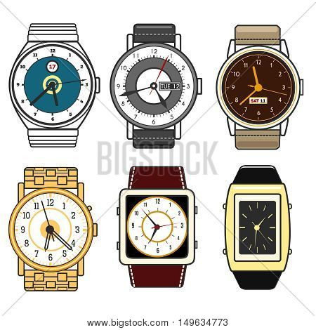 Color watches vector set isolated on white background