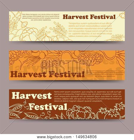 Harvest festival horizontal banners template with line vegetables. Vector illustration