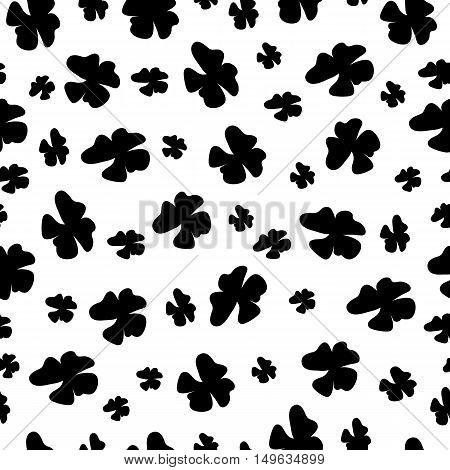 Seamless pattern with silhouette flowers. Vector illustration.