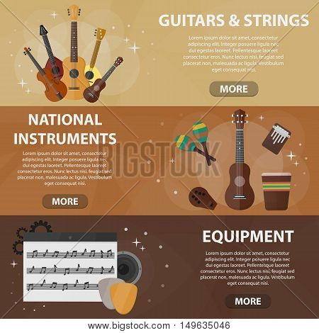 Vector flat horizontal banners of guitars, national instruments and musical equipment for website. Business concept of music shop.