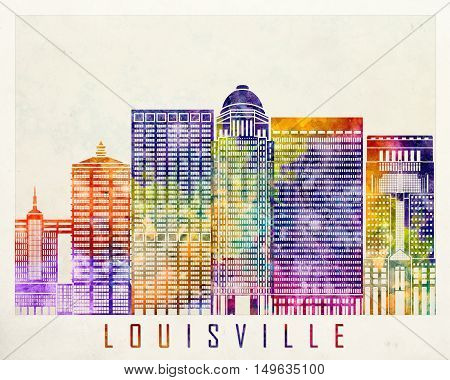 Louisville landmarks in artistic abstrack watercolor poster