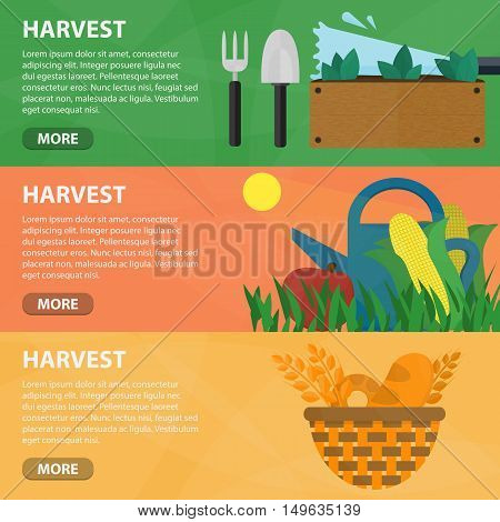 Vector flat horizontal banners of harvest for website. Business concept of harvesting, farming and plowing. Set of isolated farmer equipment in flat design.