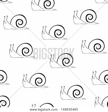 Snail sketch seamless pattern. Snail outline on white background  with snails.