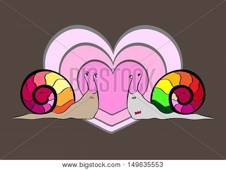 Two snail's. Big hearts on grey background. Love. Valentine greeting card.