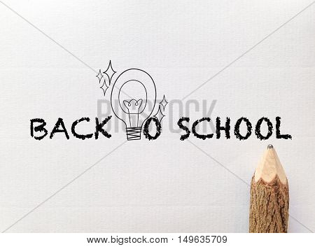 concept idea for back to school wording on white note paper with pencil
