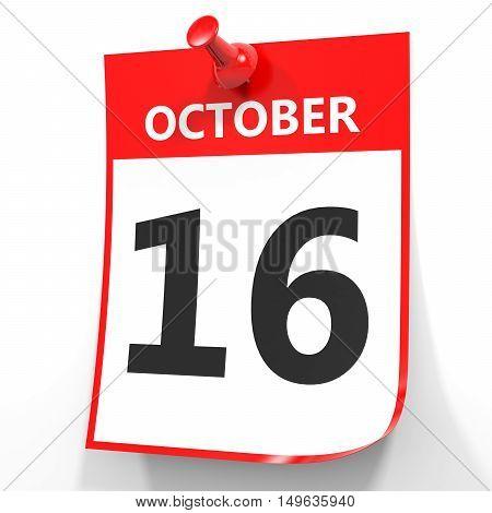 October 16. Calendar On White Background.
