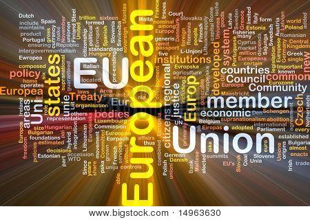 Software package box Word cloud concept illustration of EU European Union