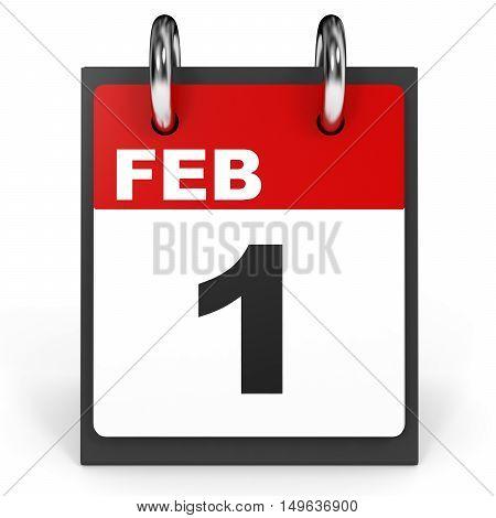 February 1. Calendar On White Background.
