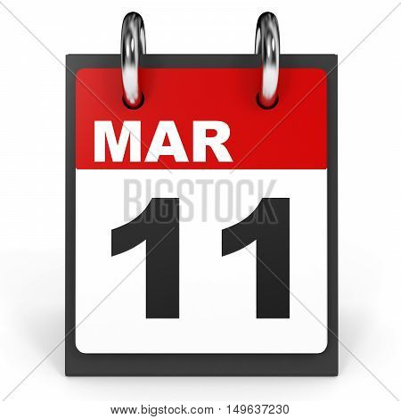 March 11. Calendar On White Background.