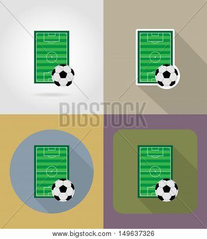football soccer stadiun field flat icons vector illustration isolated on background