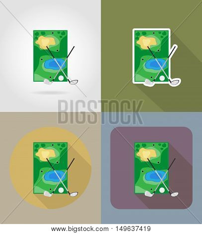 field for golf flat icons vector illustration isolated on background