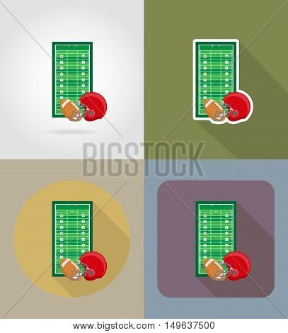field for american football flat icons vector illustration isolated on background