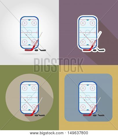 hockey stadium flat icons vector illustration isolated on background