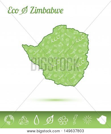 Zimbabwe Eco Map Filled With Green Pattern. Green Counrty Map With Ecology Concept Design Elements.