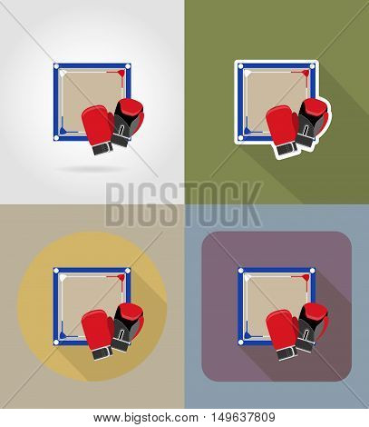 boxing ring flat icons vector illustration isolated on background